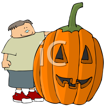 Cartoon of a Boy Standing by a Huge Jack O' Lantern