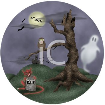 Halloween Scene with a Dead Tree, Ghosts, Bats and a Grave