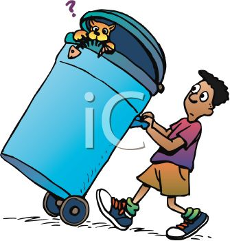 African American Boy Taking Out the Trash with a Cat in the Garbage Can