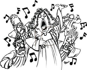 Away from a terrible singer in the choir royalty free clip art image