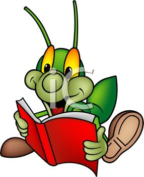 Cartoon Cricket Reading a Book