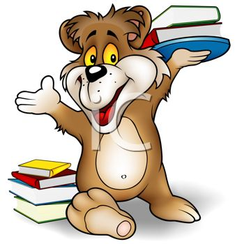 Cartoon Bear Showing that Reading is Fun