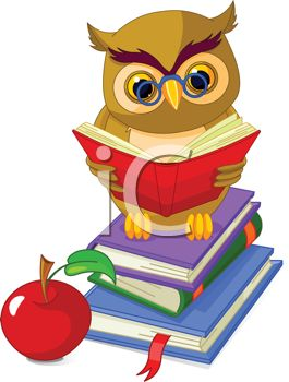 Owl, Books and an Apple Depicting Learning and Education