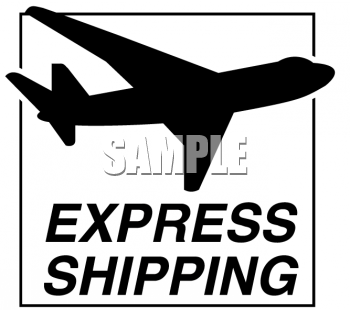 Express Shipping Label with an Airplane Silhouette
