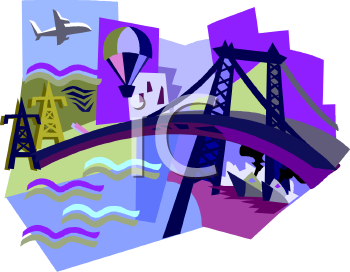 Travel Icon with an Airplane, Bridge, Boats and a Hot Air Balloon