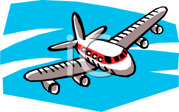 Cartoon of a Passenger Plane Flying Toward