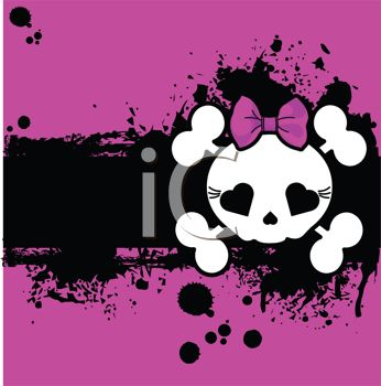 Girlie Skull and Bones on a Pink and Black Background