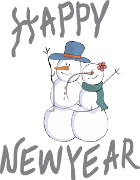 happy new year snowman royalty free clip art image