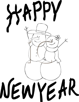 royalty free clip art image coloring page of snowman and snow woman couple waving to passersby