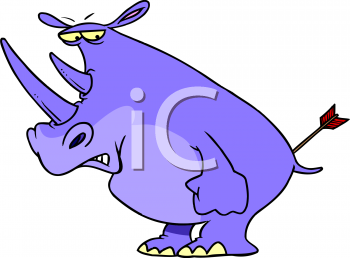 Cartoon of a Rhino with an Arrow in His Butt