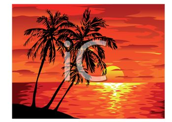 Island with Sunset Clip Art