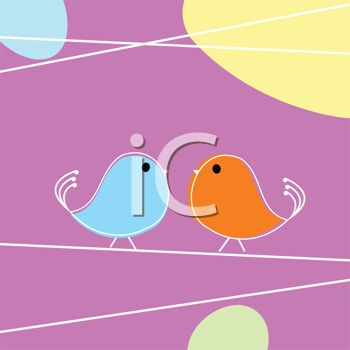 Cute Little Cartoon Birds Sitting on a Wire