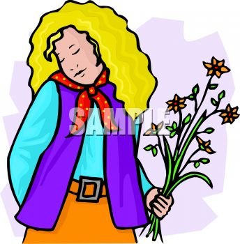 royalty free clip art image shy sensitive girl with flowers rh clipartguide com