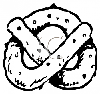 Black and White Cartoon Twisted Pretzel