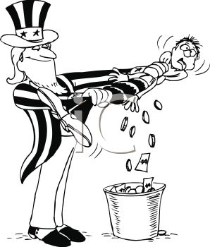 Cartoon of Uncle Sam Squeezing Money Out of a Tax Payer