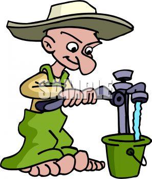 Cartoon of a Hillbilly Getting Water From a Well