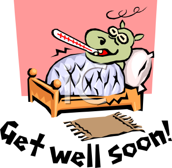 Get Well Soon Message with a Cartoon of a Hippo Sick in Bed