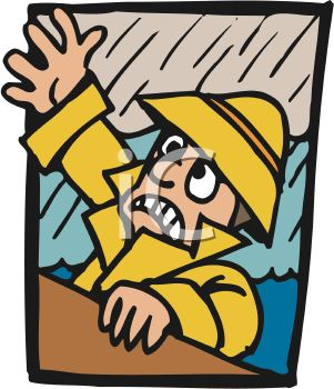 Cartoon of a Man Wearing a Yellow Slicker Falling Overboard During a Rainstorm
