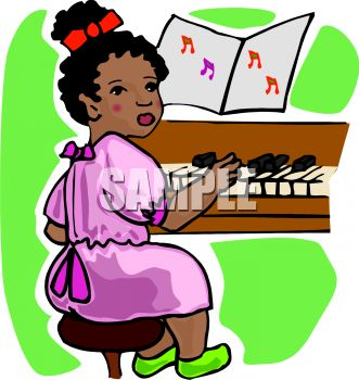 African American Child Playing the Piano