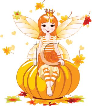 Faerie Girl Sitting on a Halloween Pumpkin