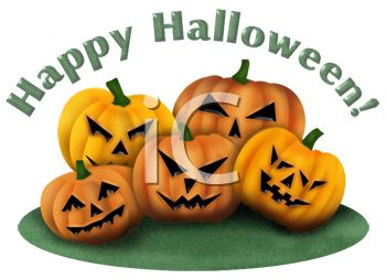 Happy Halloween Graphic with a Pile of Scary Jack O Lanterns