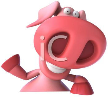 3D Pig Waving Goodbye
