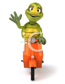 3D Turtle Riding a Scooter Waving