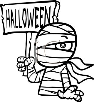Mummy with Halloween Sign