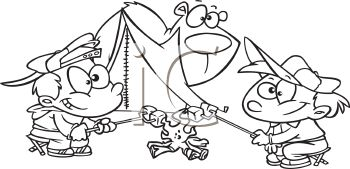royalty free clip art image children roasting marshmallows while tent camping coloring page