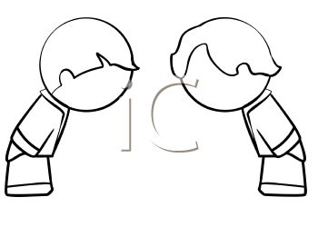 People bowing to each other royalty free clipart image