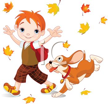 Cute Little Boy Playing in Fall Leaves with His Dog