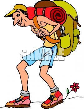 Skinny Hiker Carrying a Heavy Backpack