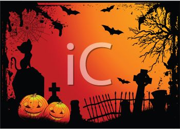 Halloween Cemetery Scene - Headstones, Jack O Lanterns and Bats in a Graveyard