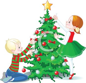 Royalty free clip art image kids decorating a christmas tree