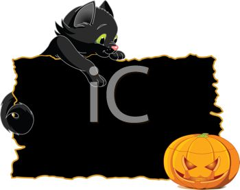 Black Kitty and a Jack O'Lantern Halloween Graphic