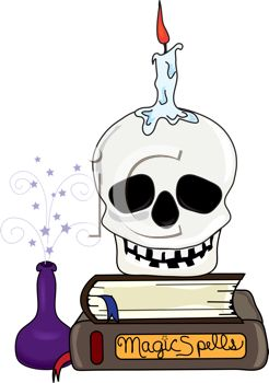 Human Skull On Book Of Magic Spells