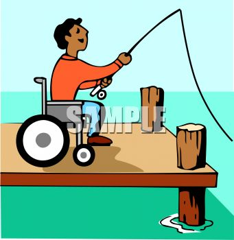 Handicapped Guy Fishing From His Wheelchair on a Dock