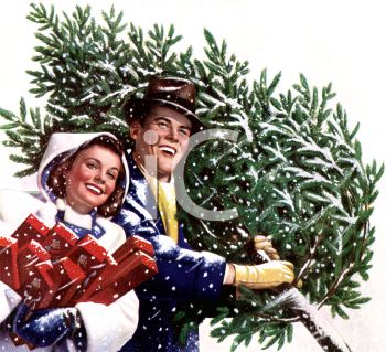Nostalgic Christmas of a Man Carrying a Christmas Tree and a Woman with Packages