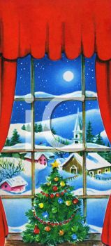 View of a Village at Christmas Seen Through a Window of a House