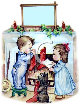 Vintage Little Boy and Girl Hanging Their Christmas Stockings by the Fire