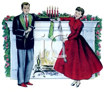 Vintage Mom And Dad Decorating The House For Christmas