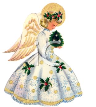 Christmas Angels Images Clip Art.Vintage Angel With Golden Wings Holding A Tiny Christmas