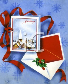 Christmas Greeting Card with a Matching Envelope on a Snowflake Background