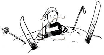 Vintage Cartoon of a Guy on Skis Crashed Into a Snowbank