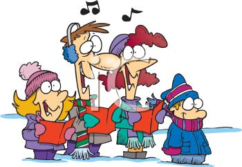 Cartoon of a Family Singing Christmas Carols
