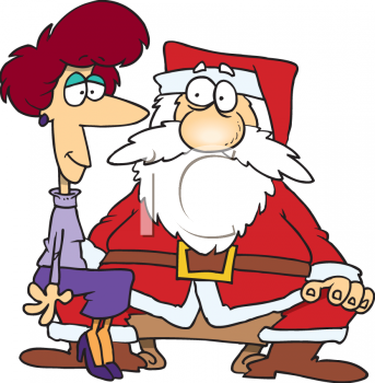 Cartoon of a Grown Woman Sitting on Santa's Lap