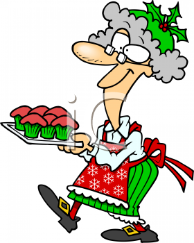 cartoon of mrs claus carrying a tray of cupcakes royalty free rh clipartguide com mrs. claus clipart images mrs. claus clipart images