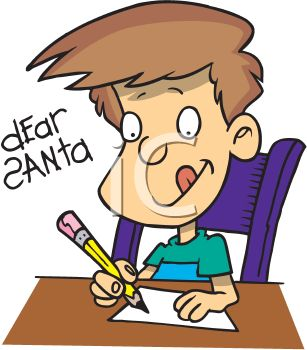 Cartoon of a Little Boy Concentrating on Writing a Letter to Santa
