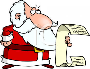 Cartoon of a Disappointed Santa Reading a Really Long Naughty List