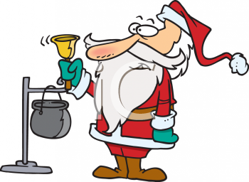 Cartoon of a Charity Santa Ringing a Bell for Donations